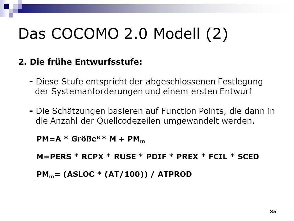 Das COCOMO 2.0 Modell (2) 2. Die frühe Entwurfsstufe: