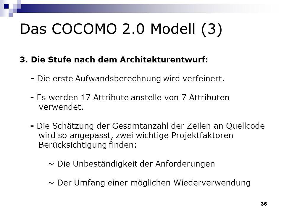 Das COCOMO 2.0 Modell (3) 3. Die Stufe nach dem Architekturentwurf: