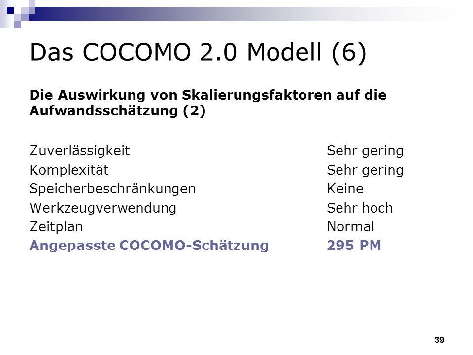 Das COCOMO 2.0 Modell (6)Die Auswirkung von Skalierungsfaktoren auf die. Aufwandsschätzung (2) Zuverlässigkeit Sehr gering.