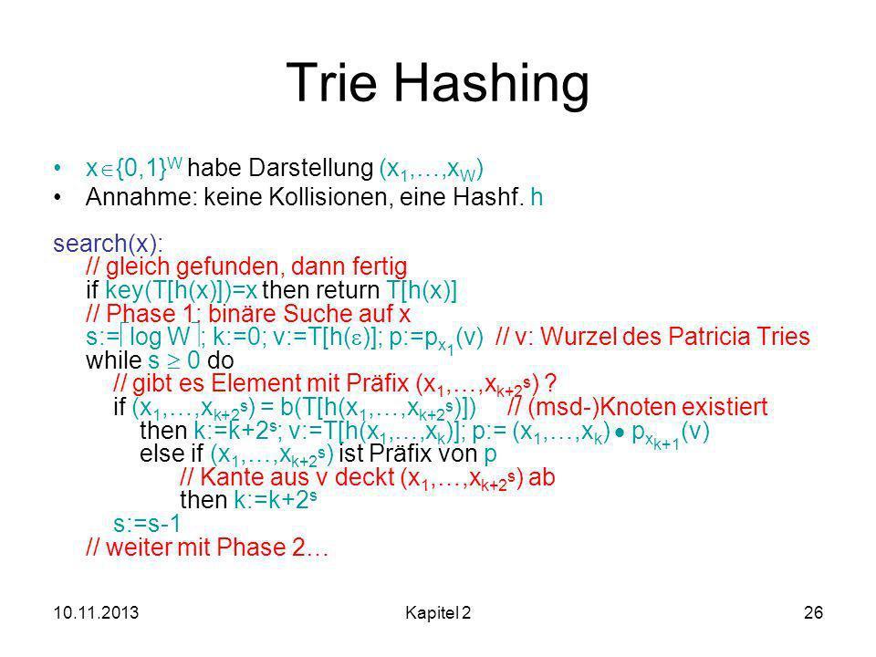 Trie Hashing x{0,1}W habe Darstellung (x1,…,xW)