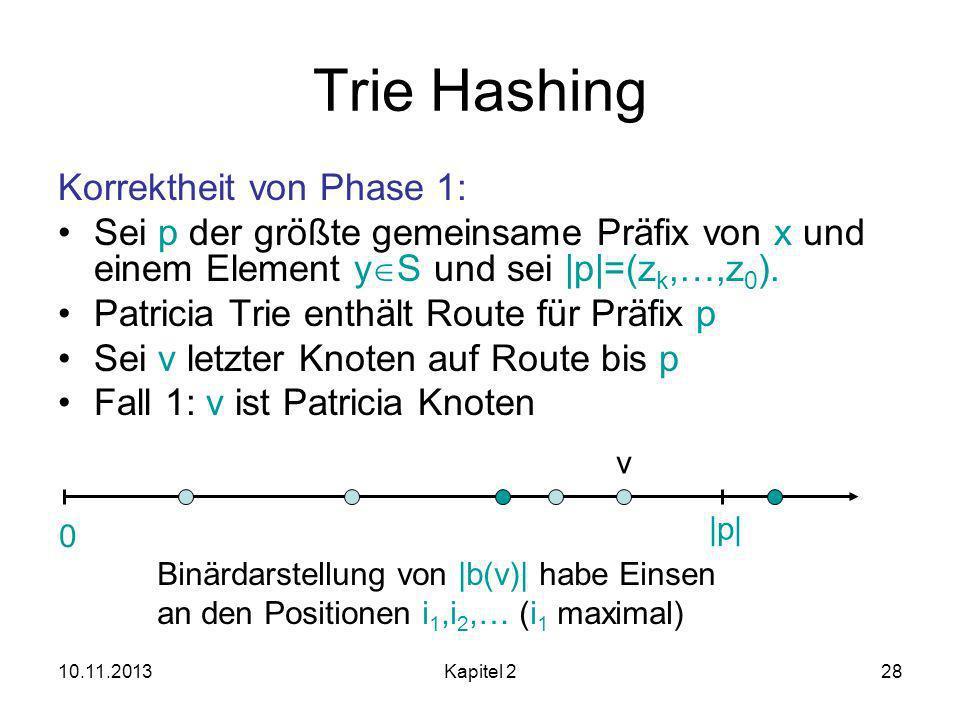 Trie Hashing Korrektheit von Phase 1: