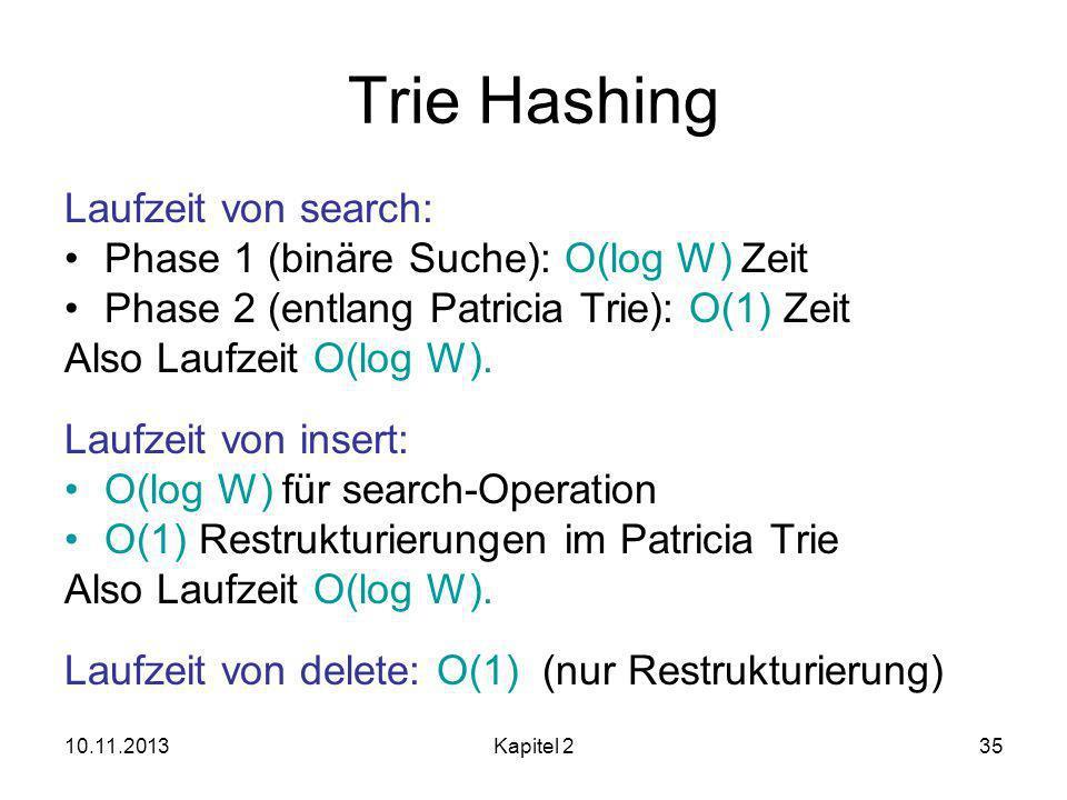 Trie Hashing Laufzeit von search: