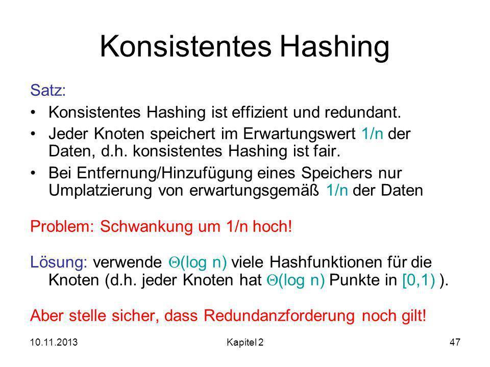 Konsistentes Hashing Satz: