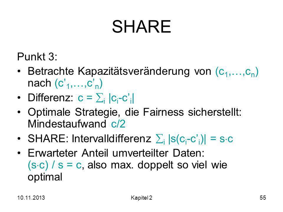 SHARE Punkt 3: Betrachte Kapazitätsveränderung von (c1,…,cn) nach (c'1,…,c'n) Differenz: c = i |ci-c'i|