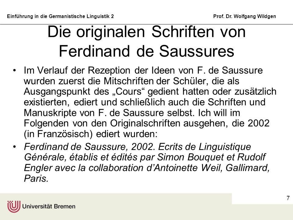 Die originalen Schriften von Ferdinand de Saussures