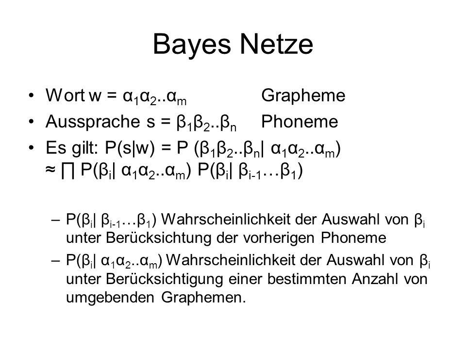 Bayes Netze Wort w = α1α2..αm Grapheme Aussprache s = β1β2..βn Phoneme