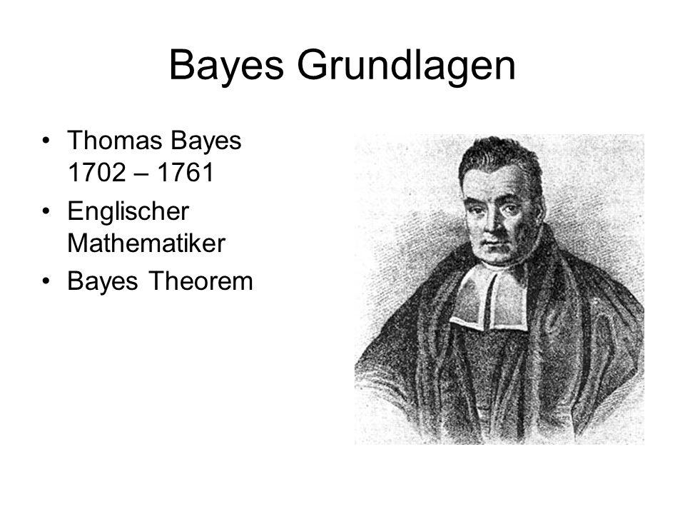 Bayes Grundlagen Thomas Bayes 1702 – 1761 Englischer Mathematiker