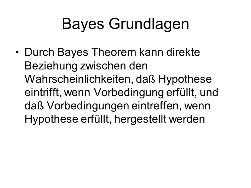 Bayes Grundlagen