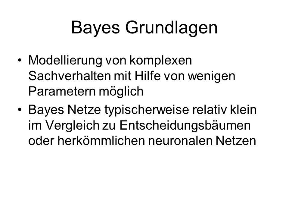 Bayes Grundlagen Modellierung von komplexen Sachverhalten mit Hilfe von wenigen Parametern möglich.