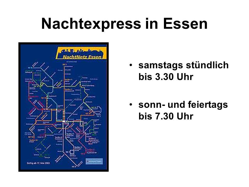 Nachtexpress in Essen samstags stündlich bis 3.30 Uhr