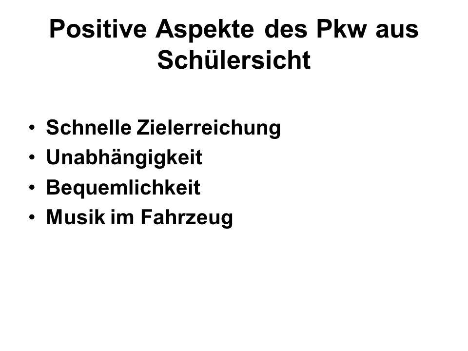 Positive Aspekte des Pkw aus Schülersicht