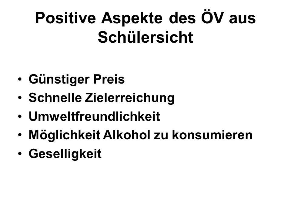 Positive Aspekte des ÖV aus Schülersicht
