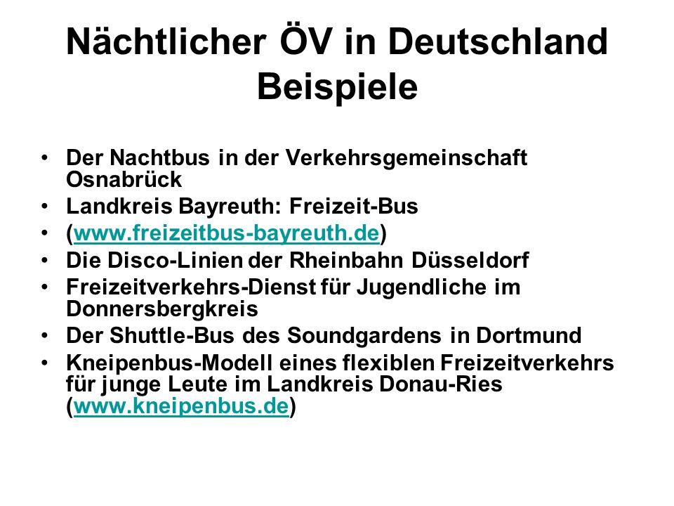 Nächtlicher ÖV in Deutschland Beispiele