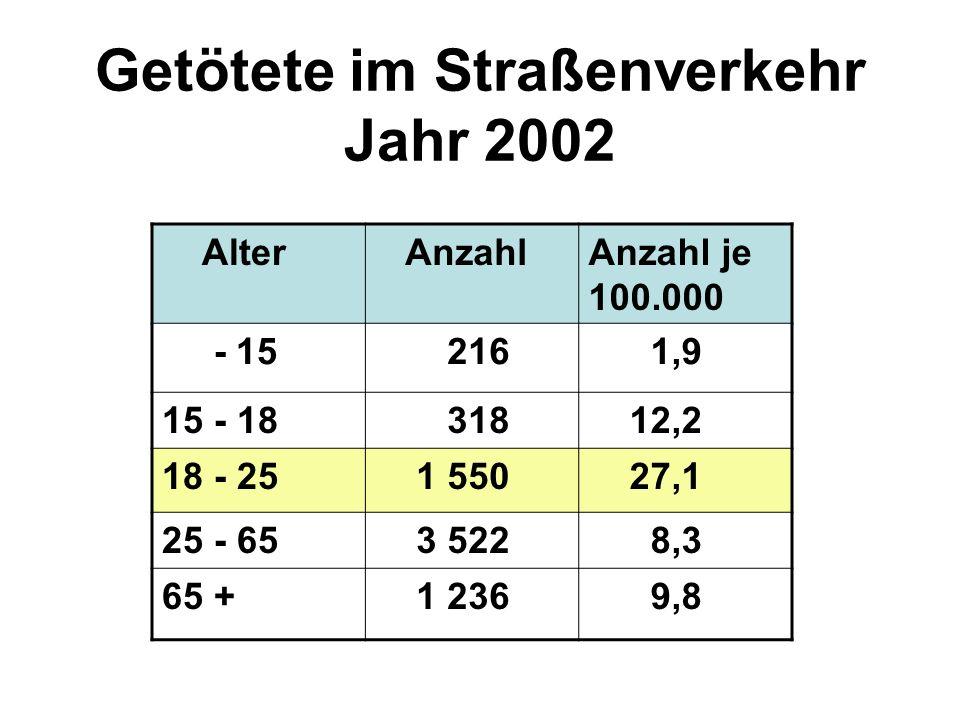 Getötete im Straßenverkehr Jahr 2002