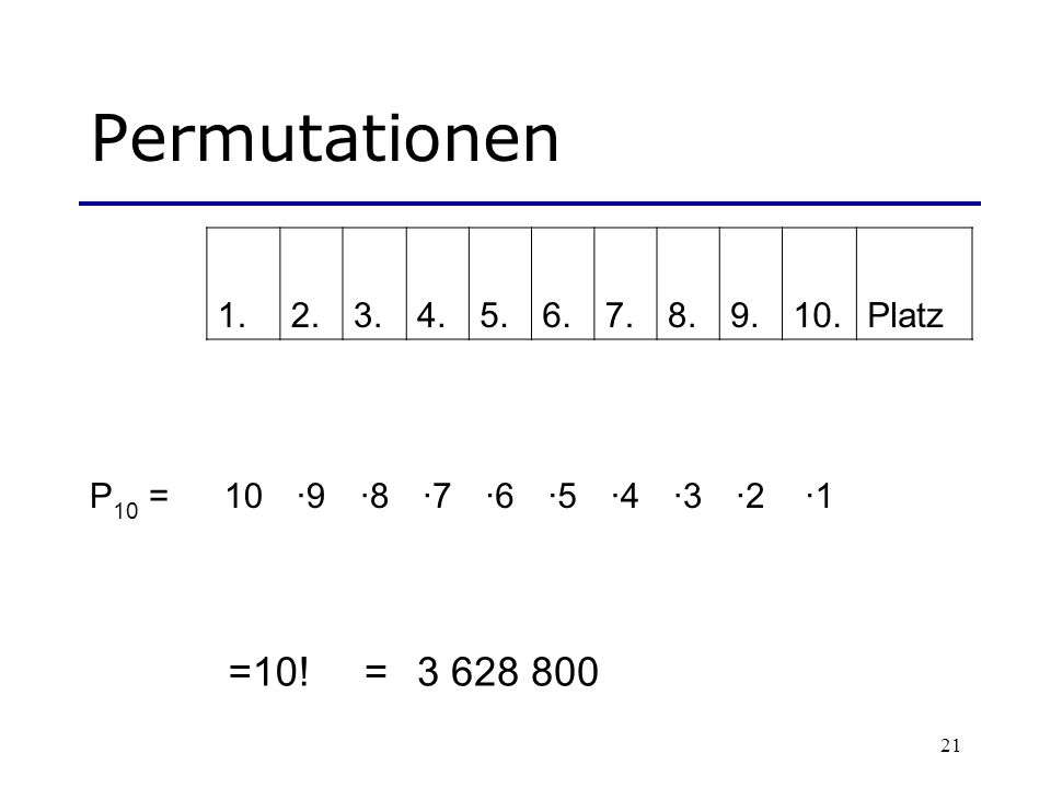Permutationen =10! = 3 628 800 1. 2. 3. 4. 5. 6. 7. 8. 9. 10. Platz
