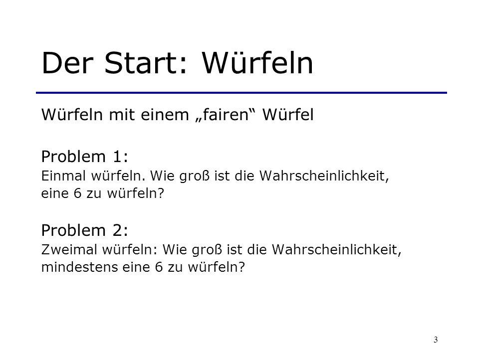 """Der Start: Würfeln Würfeln mit einem """"fairen Würfel Problem 1:"""