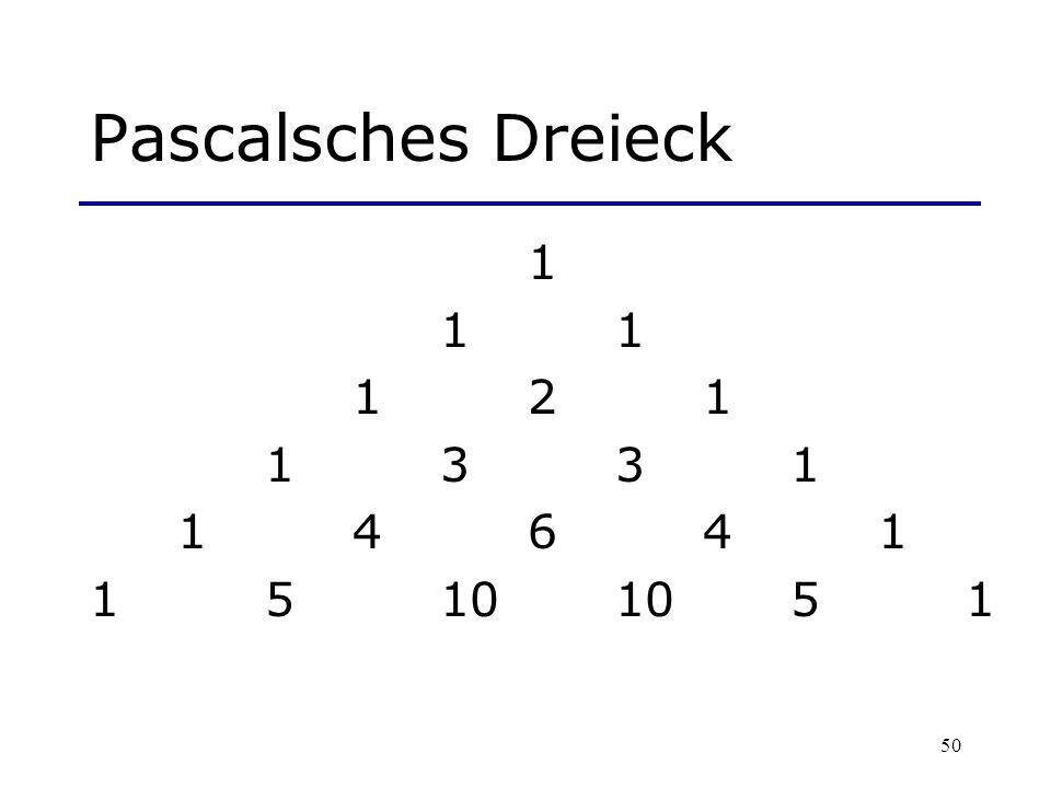Pascalsches Dreieck 1 1 1 1 2 1 1 3 3 1 1 4 6 4 1 1 5 10 10 5 1