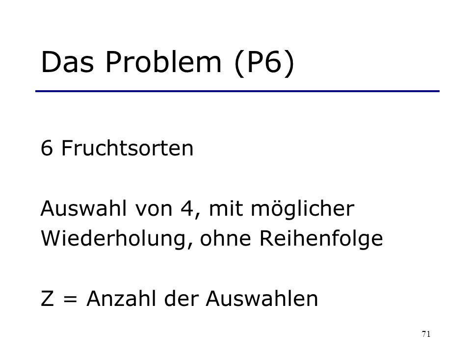 Das Problem (P6) 6 Fruchtsorten Auswahl von 4, mit möglicher