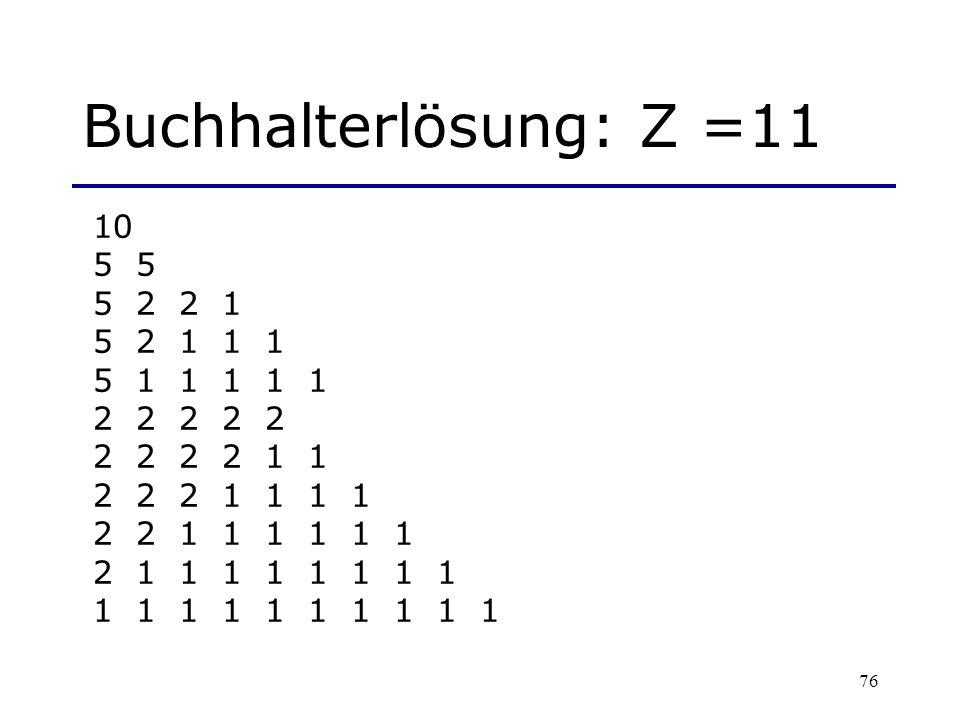 Buchhalterlösung: Z =11 10. 5 5. 5 2 2 1. 5 2 1 1 1. 5 1 1 1 1 1. 2 2 2 2 2. 2 2 2 2 1 1.