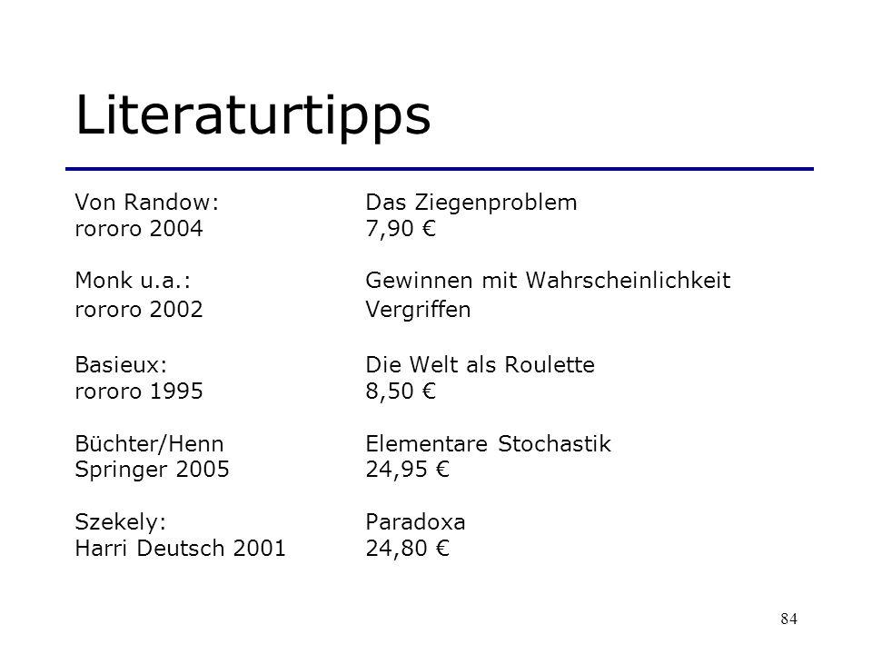 Literaturtipps Von Randow: Das Ziegenproblem rororo 2004 7,90 €