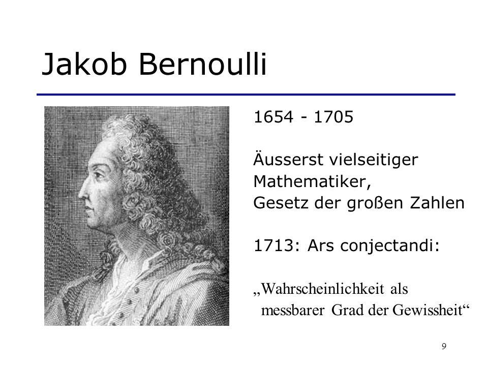 Jakob Bernoulli 1654 - 1705 Äusserst vielseitiger Mathematiker,