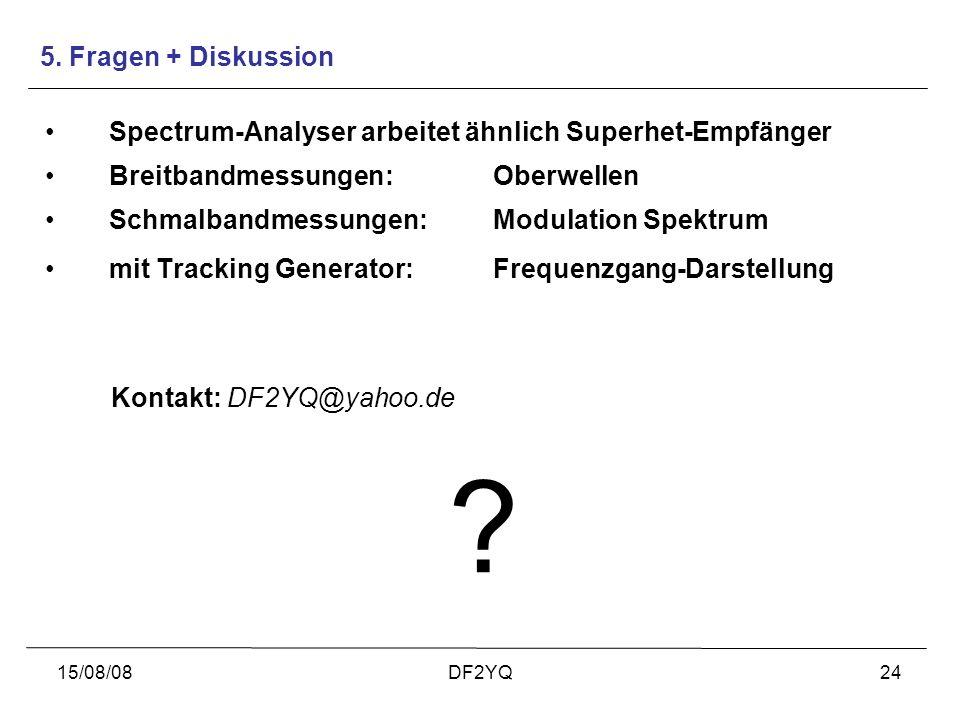 5. Fragen + DiskussionSpectrum-Analyser arbeitet ähnlich Superhet-Empfänger. Breitbandmessungen: Oberwellen.