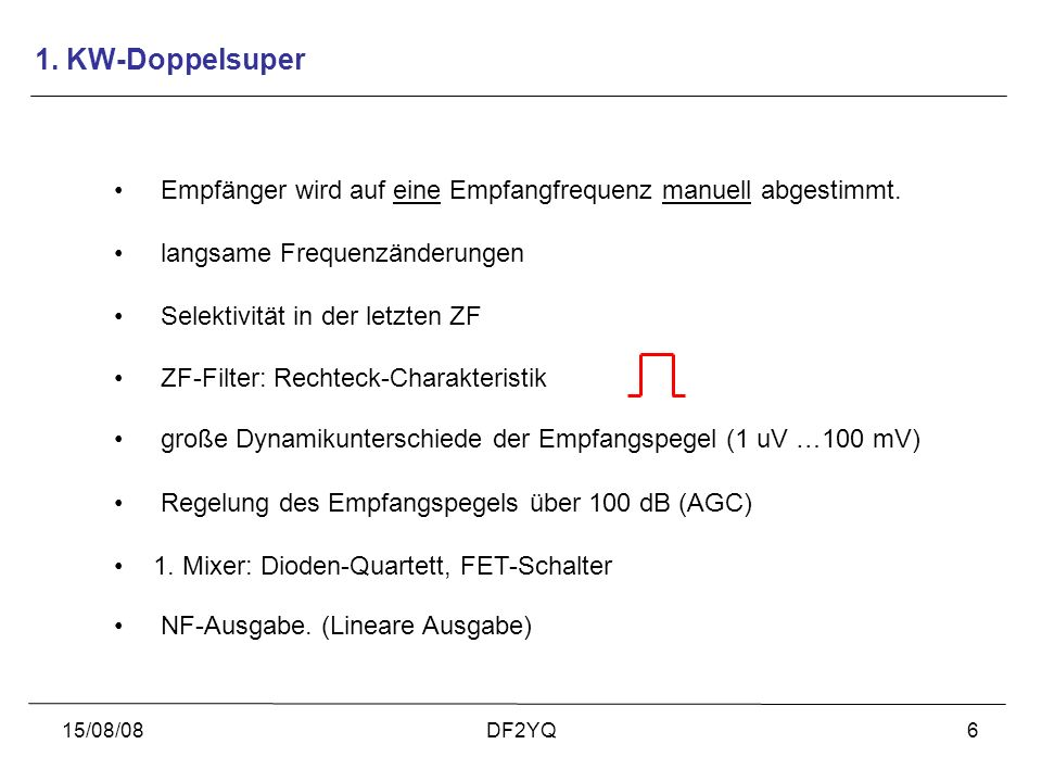 1. KW-DoppelsuperEmpfänger wird auf eine Empfangfrequenz manuell abgestimmt. langsame Frequenzänderungen.