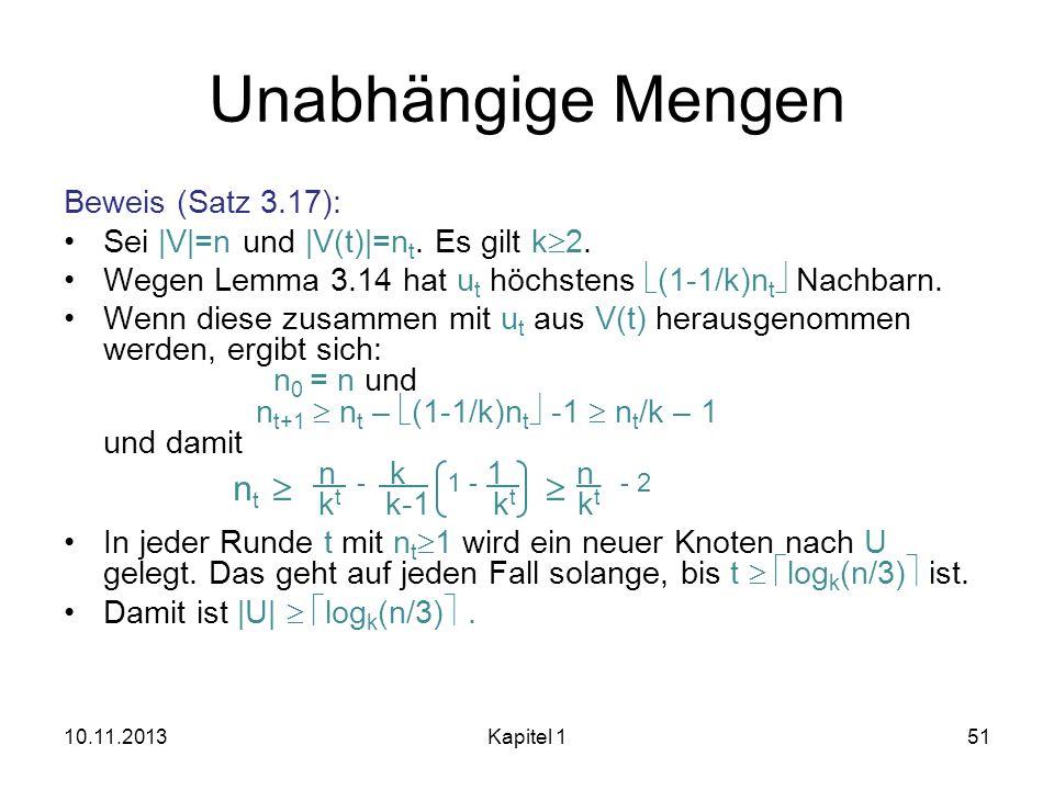 Unabhängige Mengen nt   Beweis (Satz 3.17):