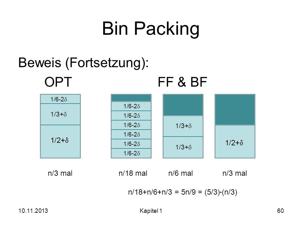 Bin Packing Beweis (Fortsetzung): OPT FF & BF 1/2+d 1/2+d n/3 mal