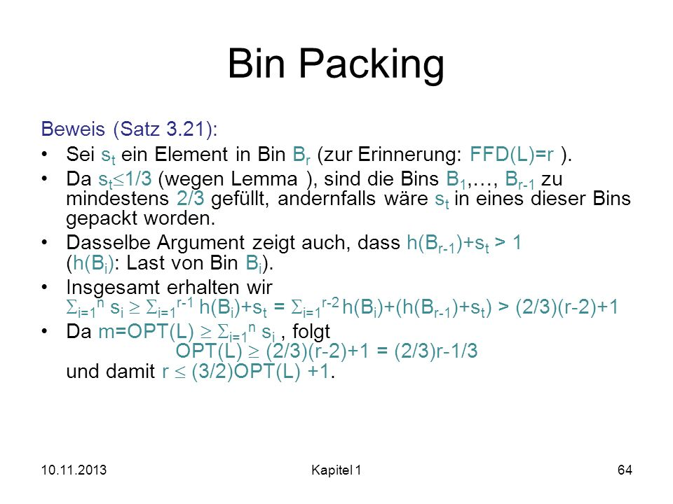 Bin Packing Beweis (Satz 3.21):