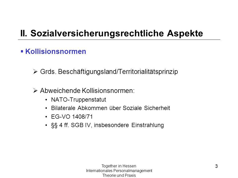 II. Sozialversicherungsrechtliche Aspekte