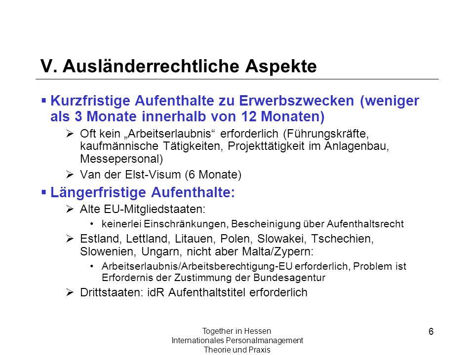 V. Ausländerrechtliche Aspekte