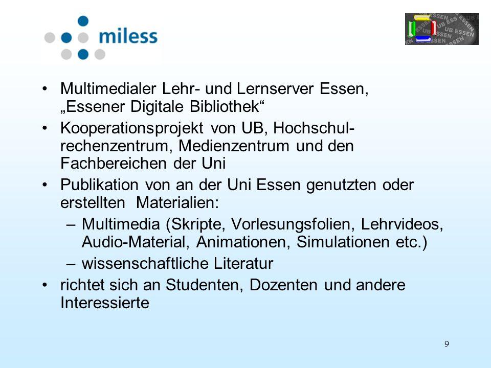 """Multimedialer Lehr- und Lernserver Essen, """"Essener Digitale Bibliothek"""