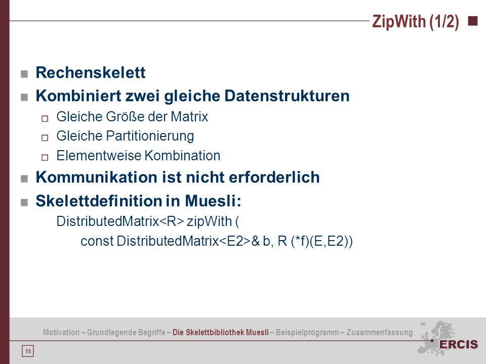 ZipWith (1/2) Rechenskelett Kombiniert zwei gleiche Datenstrukturen
