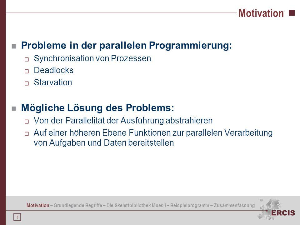 Motivation Probleme in der parallelen Programmierung: