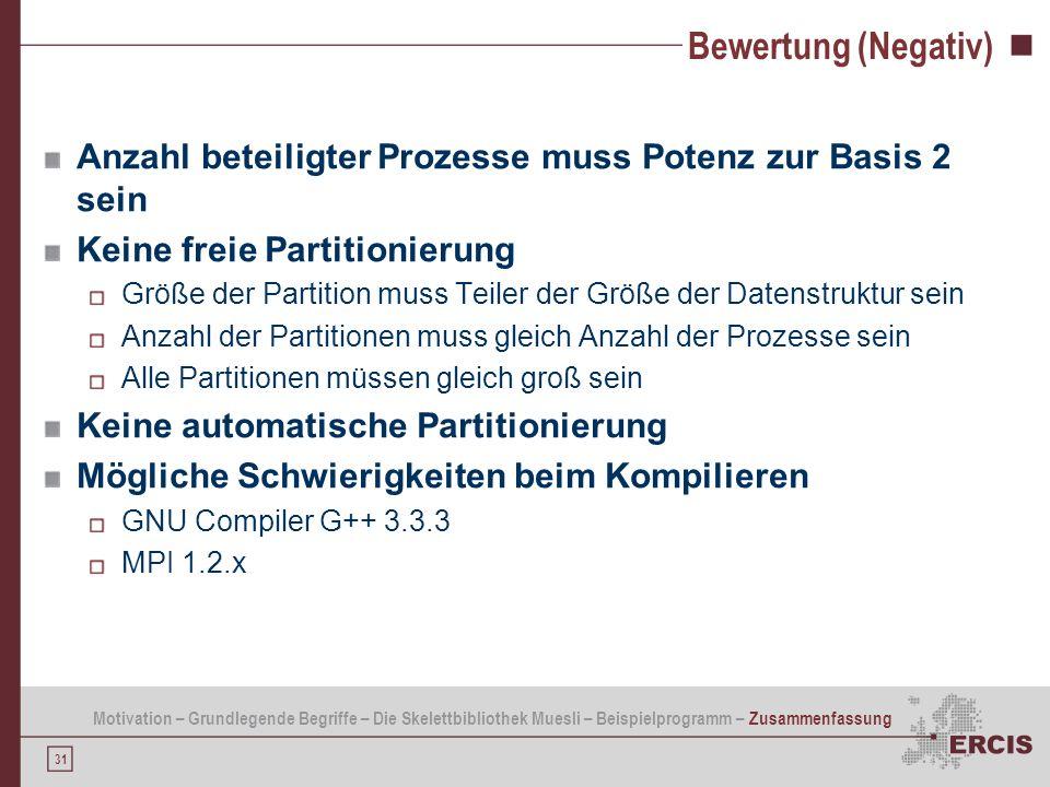 Bewertung (Negativ) Anzahl beteiligter Prozesse muss Potenz zur Basis 2 sein. Keine freie Partitionierung.