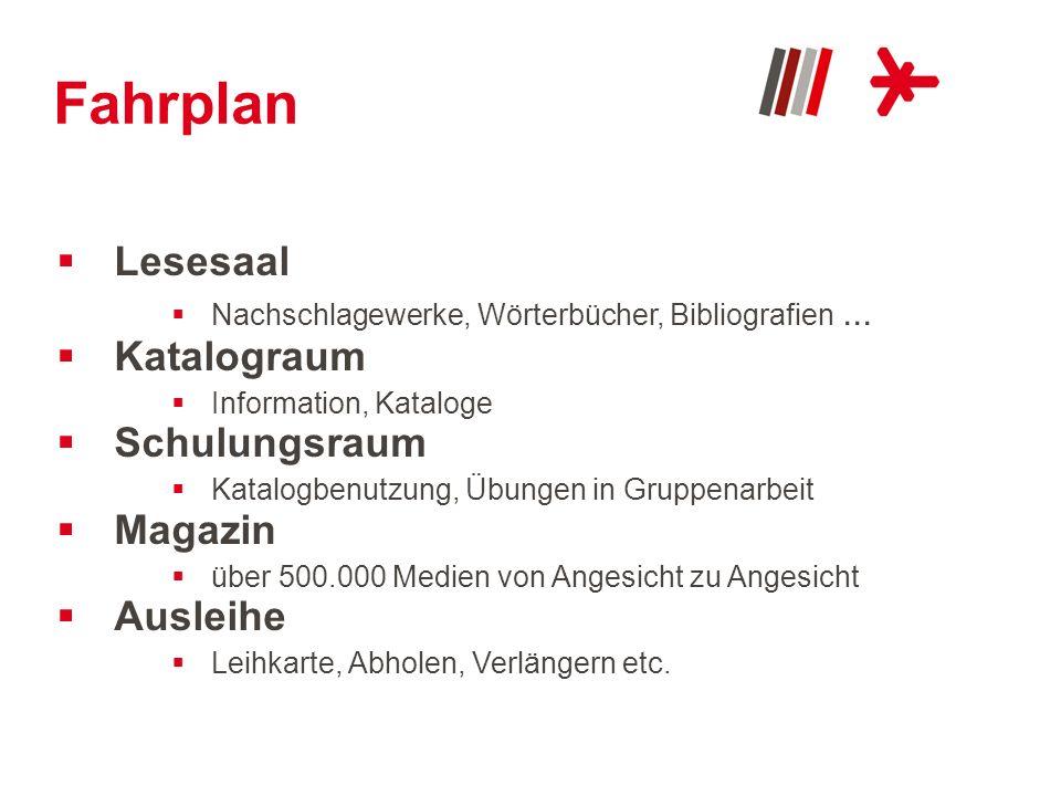 Fahrplan Lesesaal Katalograum Schulungsraum Magazin Ausleihe