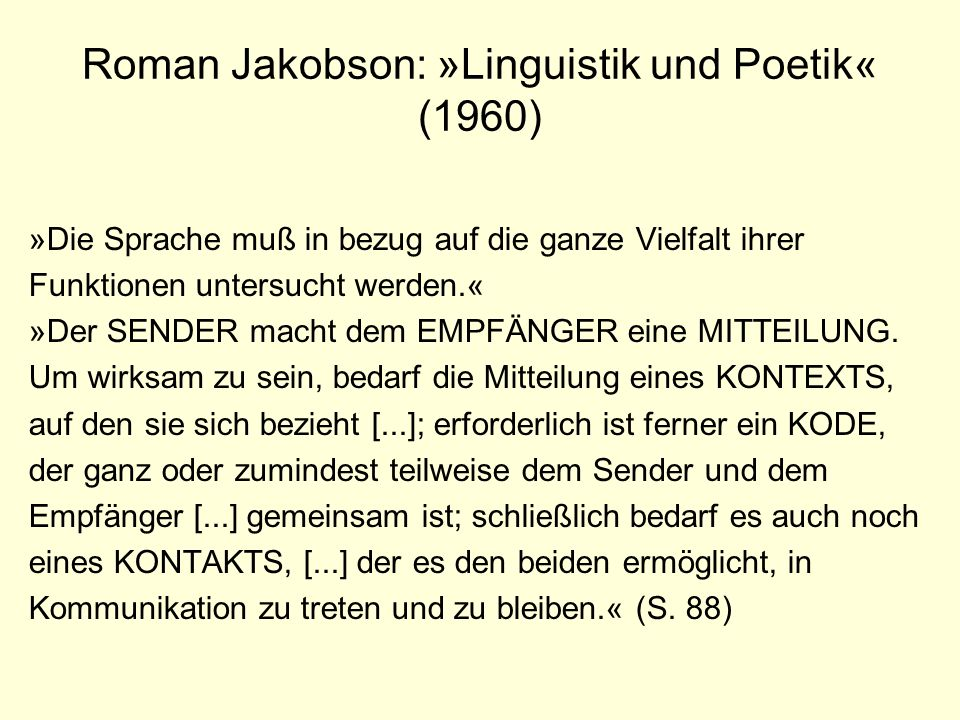 Roman Jakobson: »Linguistik und Poetik« (1960)
