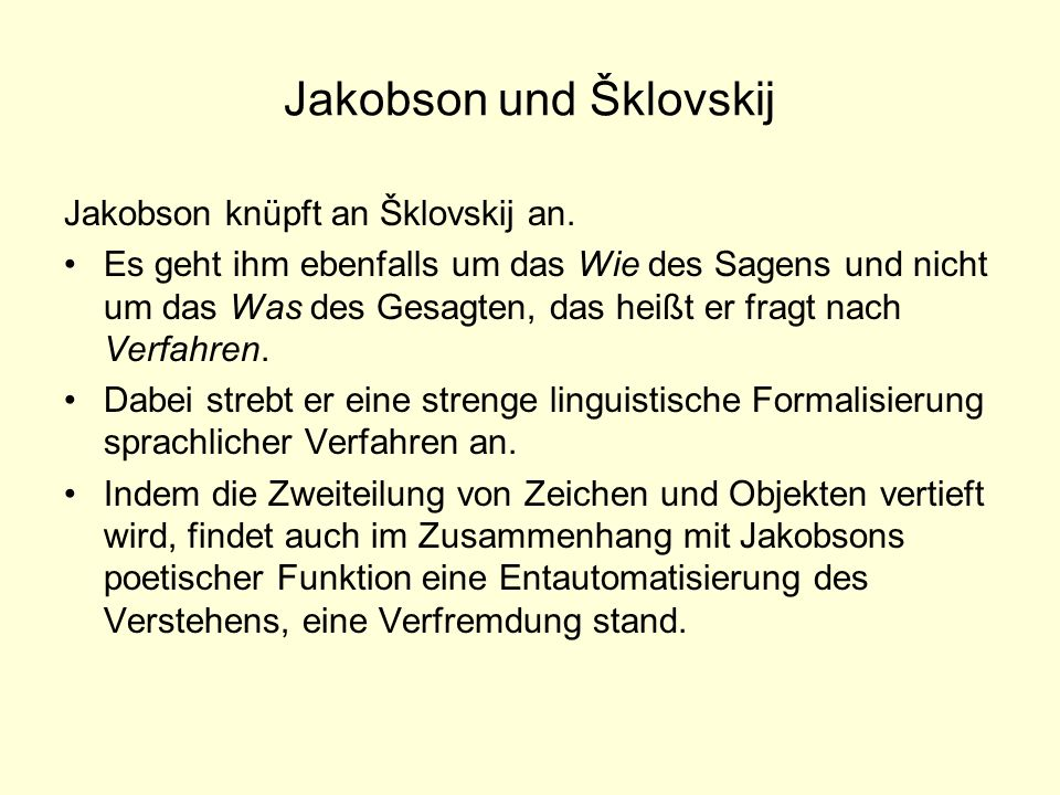 Jakobson und Šklovskij