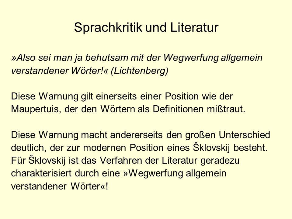 Sprachkritik und Literatur