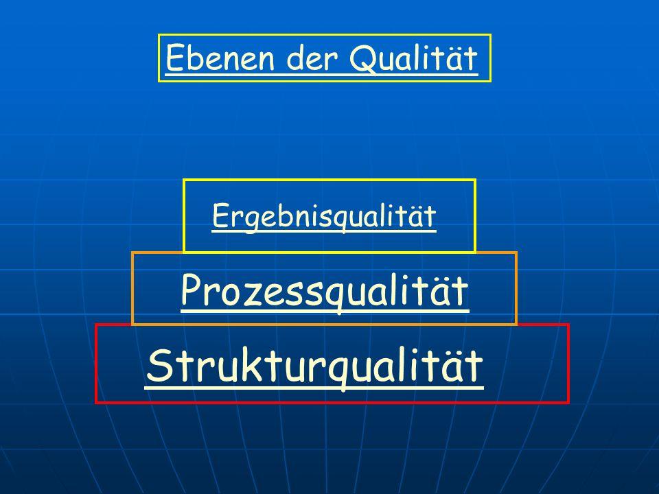 Ebenen der Qualität Ergebnisqualität Prozessqualität Strukturqualität