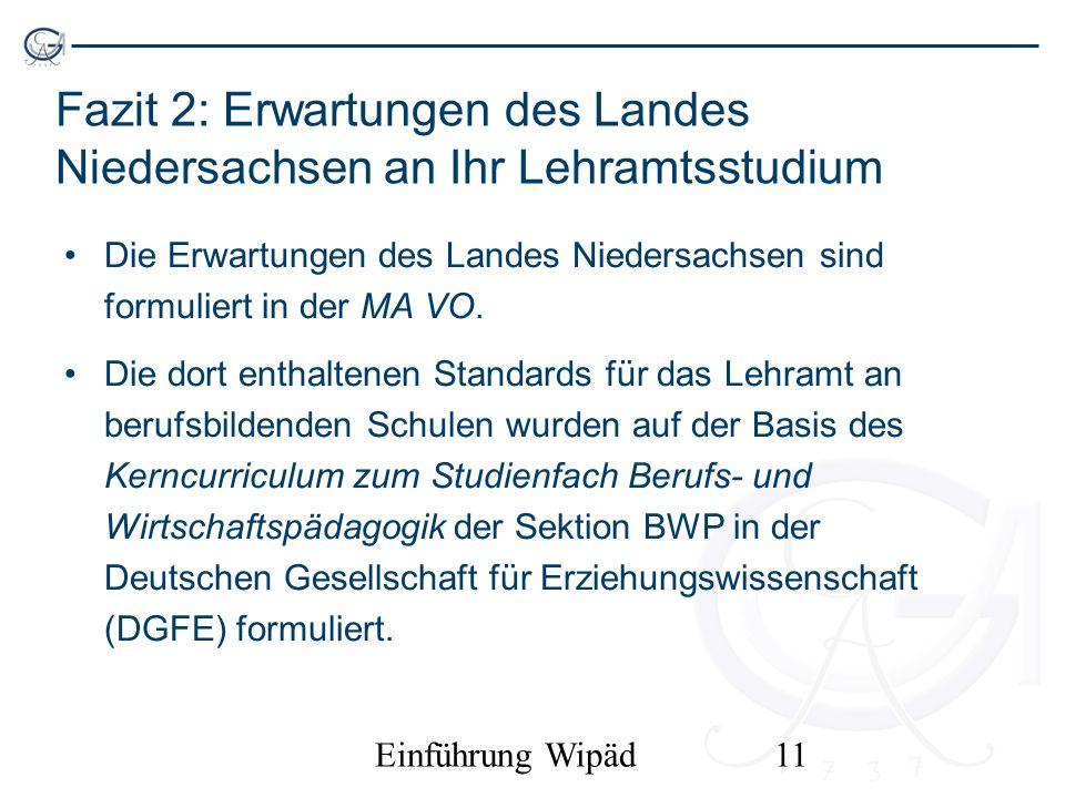 Fazit 2: Erwartungen des Landes Niedersachsen an Ihr Lehramtsstudium