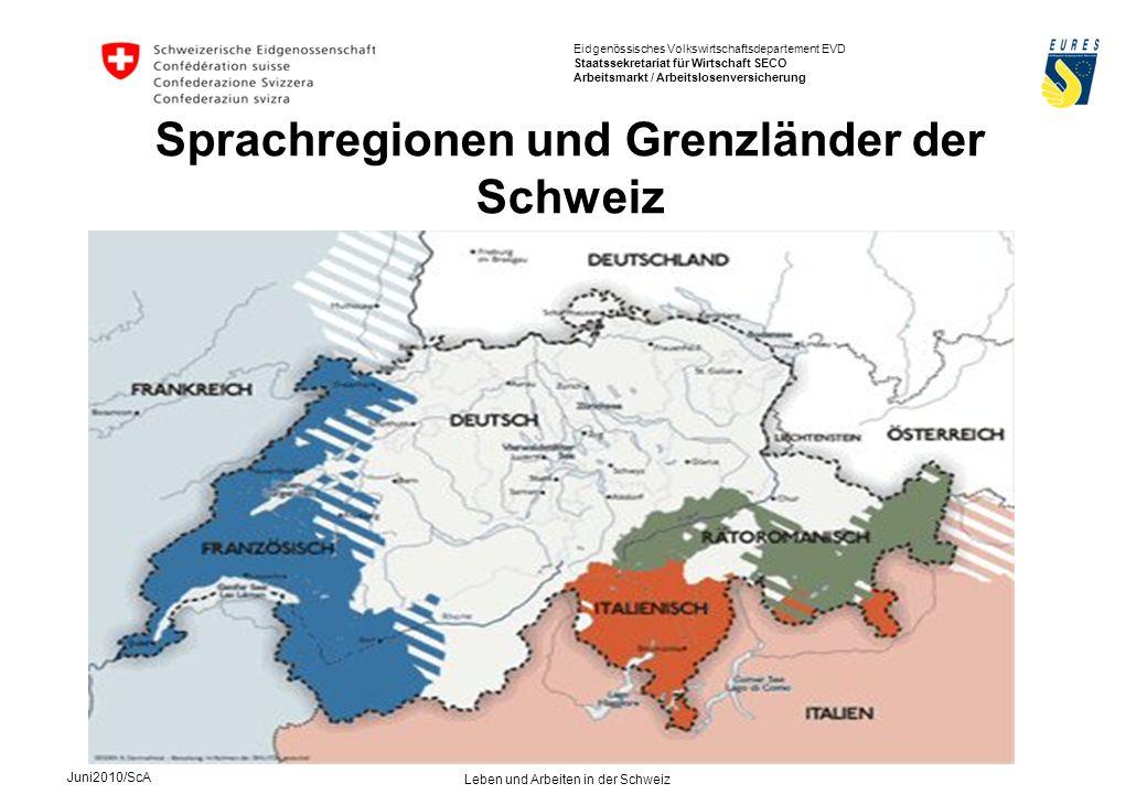 Sprachregionen und Grenzländer der Schweiz