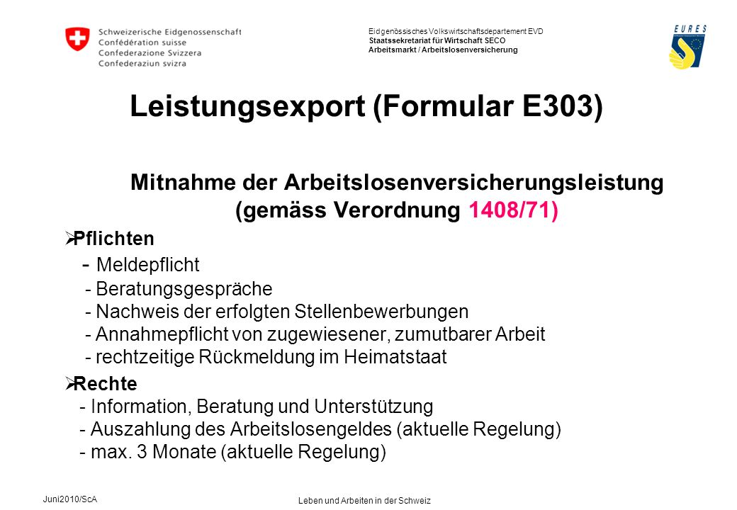 Leistungsexport (Formular E303)