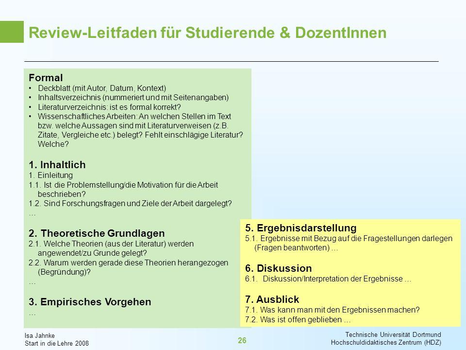 Review-Leitfaden für Studierende & DozentInnen