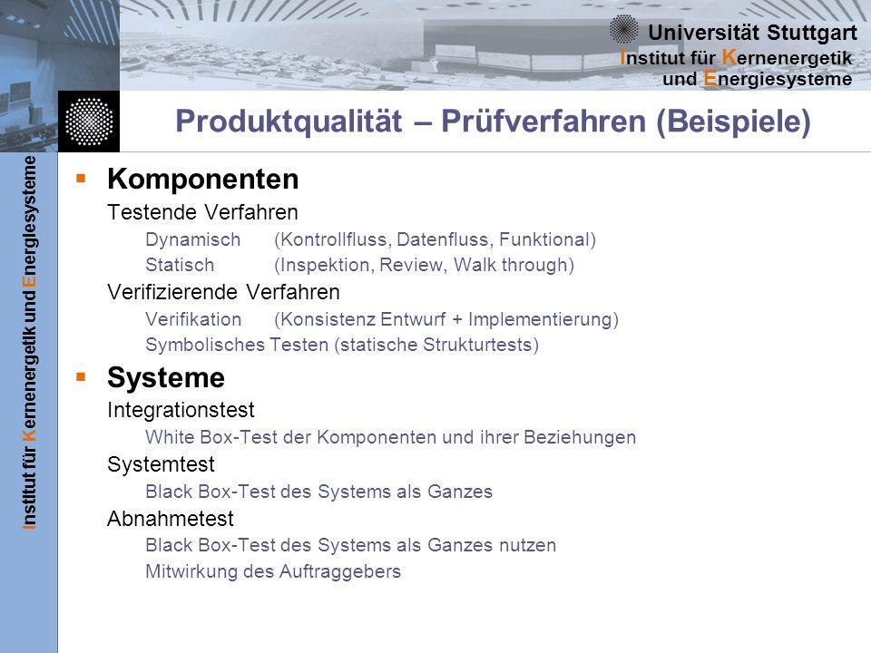 Produktqualität – Prüfverfahren (Beispiele)