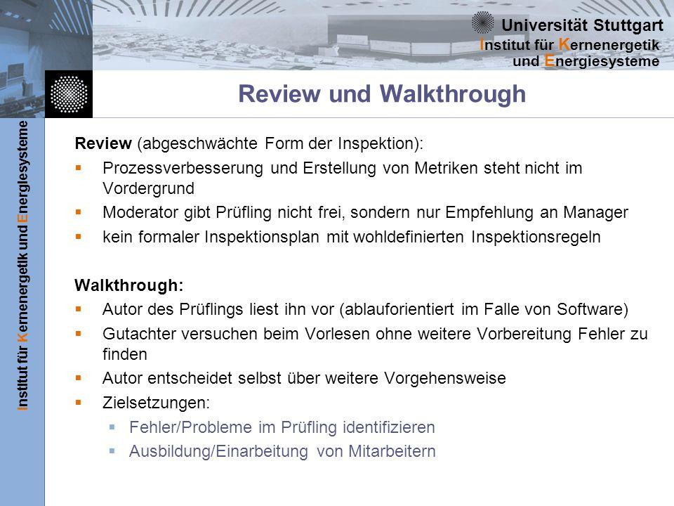 Review und Walkthrough