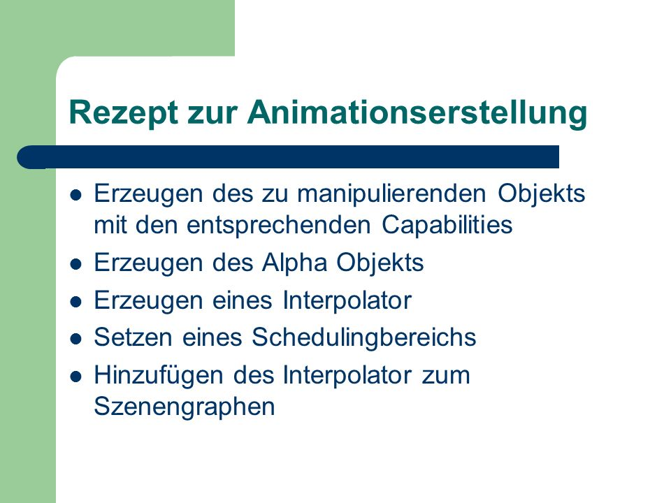 Rezept zur Animationserstellung