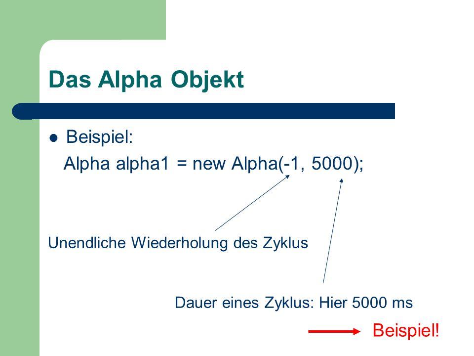 Das Alpha Objekt Beispiel: Alpha alpha1 = new Alpha(-1, 5000);