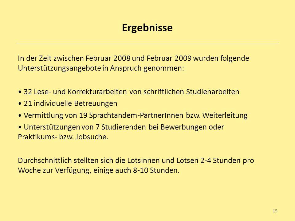 Ergebnisse In der Zeit zwischen Februar 2008 und Februar 2009 wurden folgende Unterstützungsangebote in Anspruch genommen: